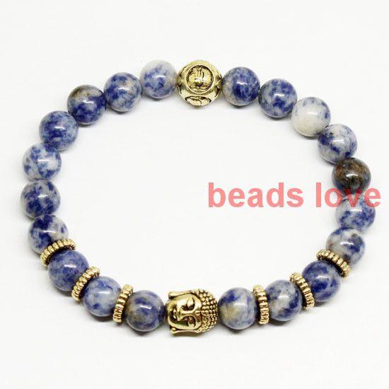 2016 Wysokiej Klasy Biżuteria 8mm Nowy Niebieski Sodalite Złota Buddy Bransoletki dla Mężczyzn i kobiet Biżuteria 19 cm (W03423)(China (Mainland))
