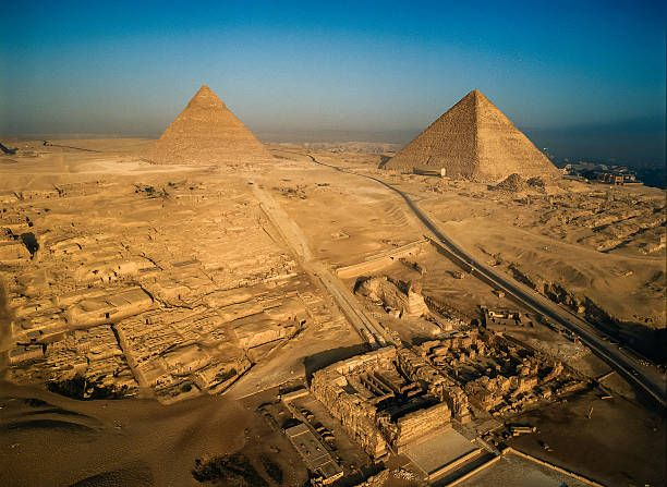 The Great Sphinx, Khafre Pyramid Complex and Khufu Pyramid, Pyramids of Giza, Cairo, Giza Governorate, Egypt