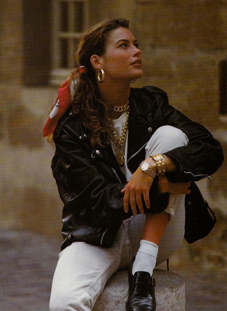 """80s-90s-supermodels:  """"Quel Certo Stile"""", VOGUE Italia, October 1991Photographer: Michael RobertsModel: Carre Otis"""