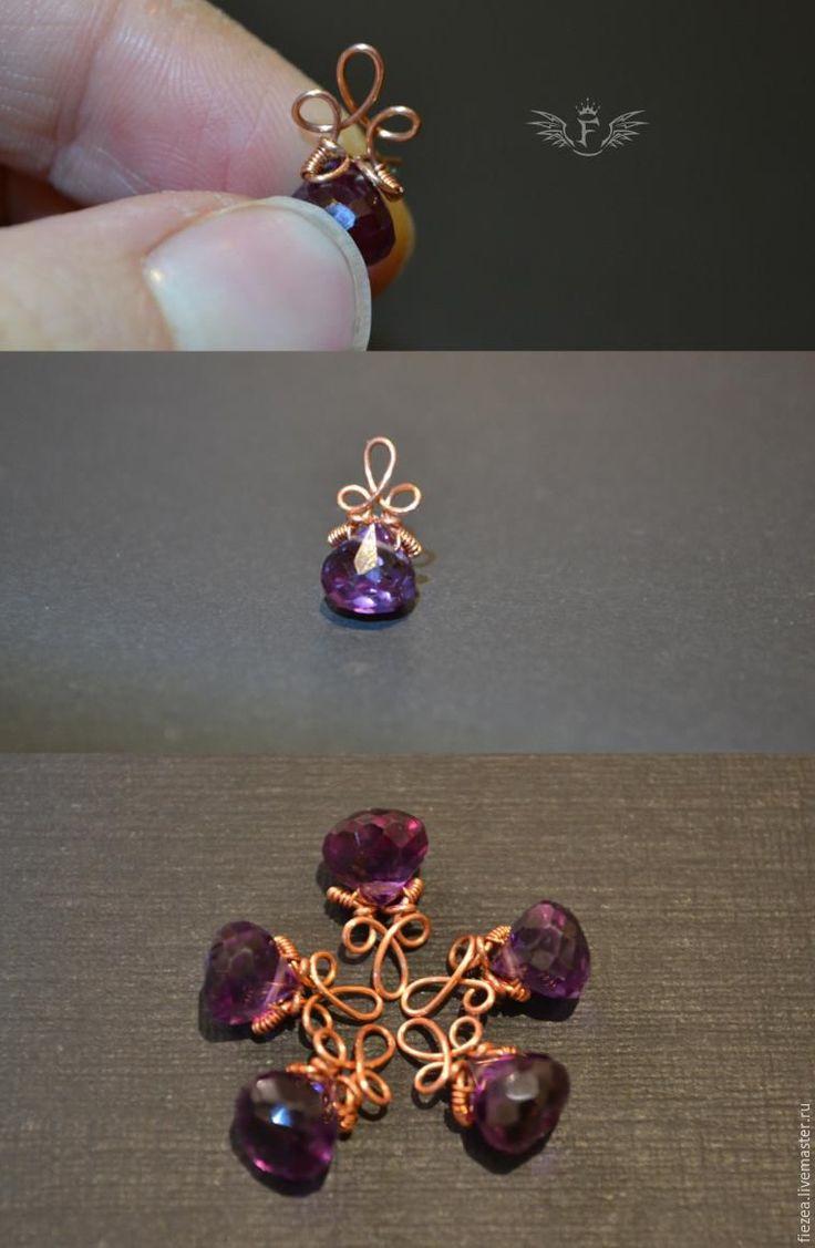"""Как красиво оформить подвеску с бусиной в форме капли в технике """"wire wrap"""" - Ярмарка Мастеров - ручная работа, handmade"""