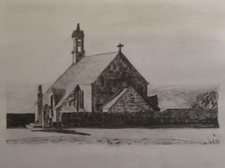 église bretonne - crayon graphite