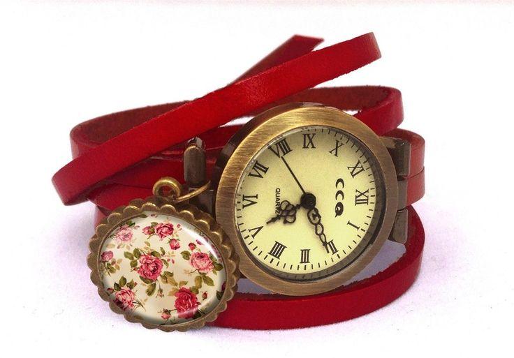 Leather watch bracelet - Retro roses, 0218WR6 from EgginEgg by DaWanda.com