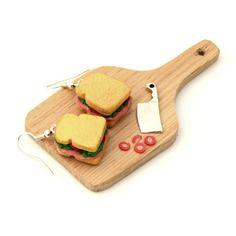 Bijou gourmand boucles d'oreille pendantes sandwich jambon en pâte fimo
