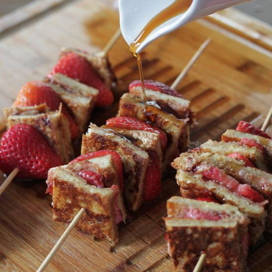 Stuffed Almond Butter and Strawberry Jam French Toast Kebabs