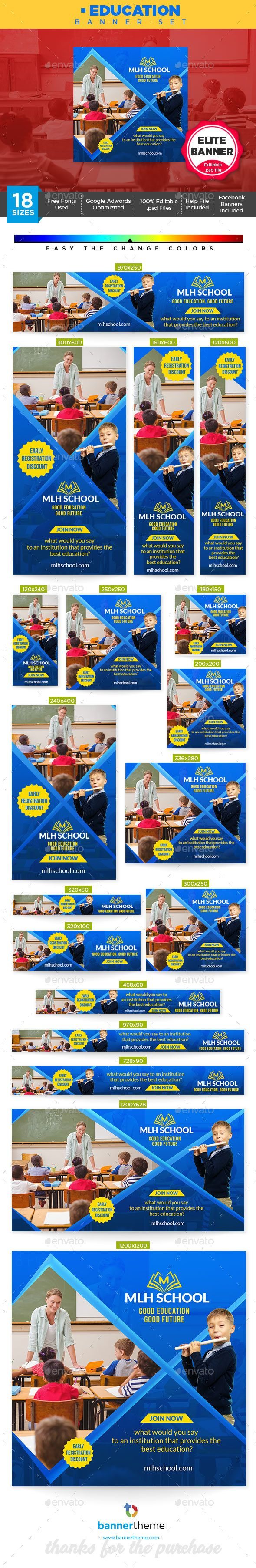 #Education Banner – #Banners & Ads #Web Elements