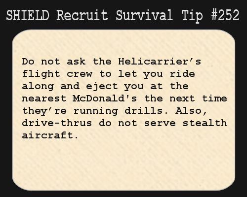 S.H.I.E.L.D. Recruit Survival Tip #252:Do not ask the Helicarrier's flight crew to let you ride along and eject you at the nearest McDonald's the next time they're running drills. Also, drive-thrus do not serve stealth aircraft. [Submitted by consultingdovahkiin]