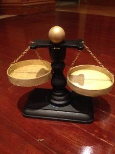 Scales of Justice Craft Project. Perfect for someone entering law school, graduating law school, passing the bar, or retiring from law.