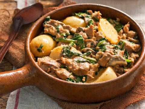 Pork and paprika with potato and spinach: Get strong for winter with this hearty pork and spinach dish.