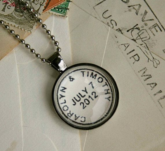 Custom Postmark Necklace : your names or location and special date. Great way to commemorate a special date or place - wedding, birthday, engagement, vacation, anniversary ; by CrowBiz on Etsy