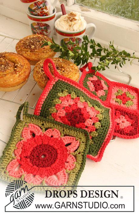 """Agarradores de ollas DROPS en ganchillo / crochet con aplicaciones en """"Paris"""". Diseño DROPS: Patrón No. W-372 + W-373 + W-376 ~ DROPS Design"""