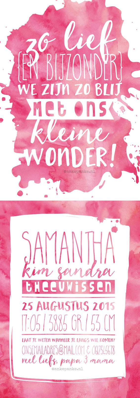Pink watercolor birth announcement by http://ankepanke.nl