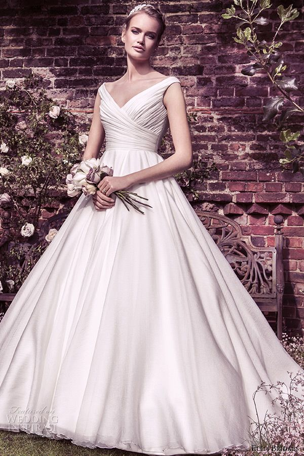 ellis bridal 2015 wedding dress v crossover neckline buttoned back organza ball gown style 11427