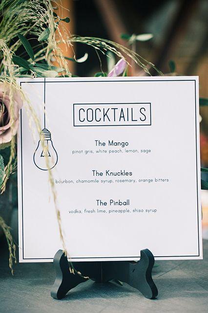 carte cocktails minimaliste mariage kinfolk