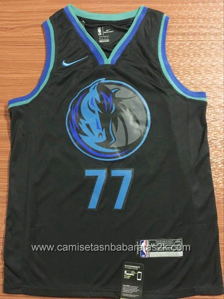 Camiseta Dallas Mavericks Baratas Noir  77 Luka Doncic City Edition 2019 0d9ed4932