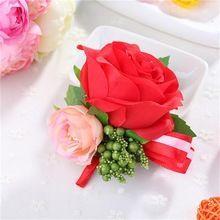 2 шт./лот искусственный цветок розы жених бутоньерка лучший мужчина невеста запястья корсажи свадебные цветы букет ну вечеринку украшения(China (Mainland))