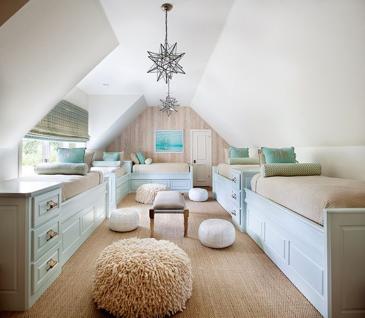 Coastal guest #bedroom converted from an #attic space. Love how cozy this looks!