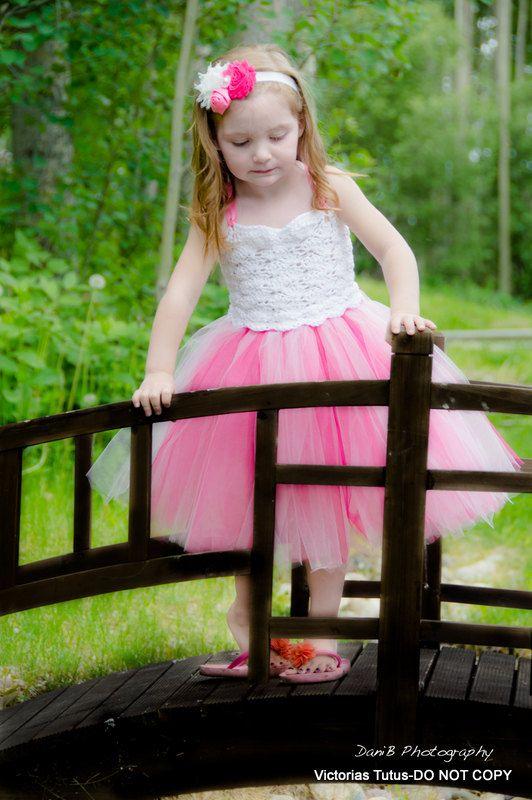 pink flower girl tutu dress crochet tutu dress by victoriastutus