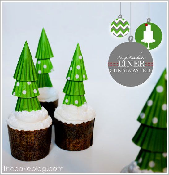 """I was going to be the one to """"invent"""" cupcake liner Christmas trees this year. Oh well, lots of great minds out there. Putting them on a cupcake, is pretty ingenious!"""