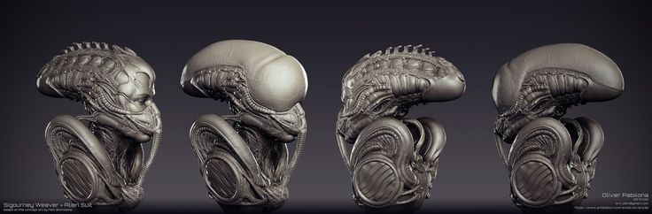 Sigourney Weaver - Alien Suit - Sculpt, Oliver Pabilona on ArtStation at https://www.artstation.com/artwork/Y8xqb