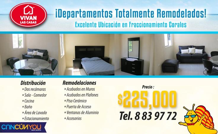 Oportunidad Única $225,000.00 MXN.  Departamento Residencial - Venta - Cancún, Quintana Roo  Céntrico departamento con 2 recamaras, 1 baño, sala, comedor, cocina y area de servicio.