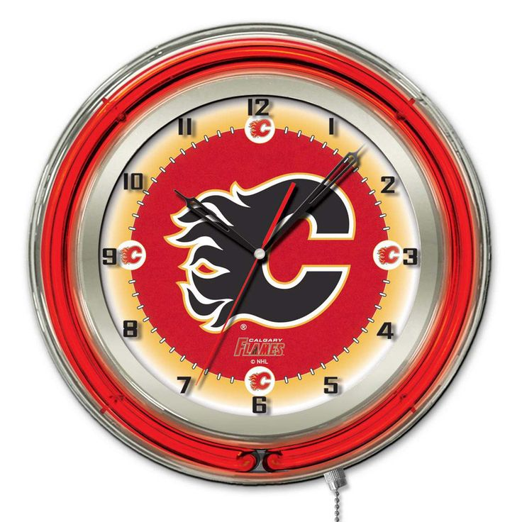 Make the Flames a focal point in your room with the Calgary Flames Large Logo Neon Clock. Double ring, neon wall clock with high gloss chrome case and glass cover. This colorful wall clock features on