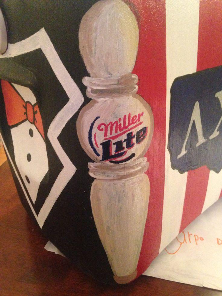 Side of cooler, beer tap, fraternity cooler