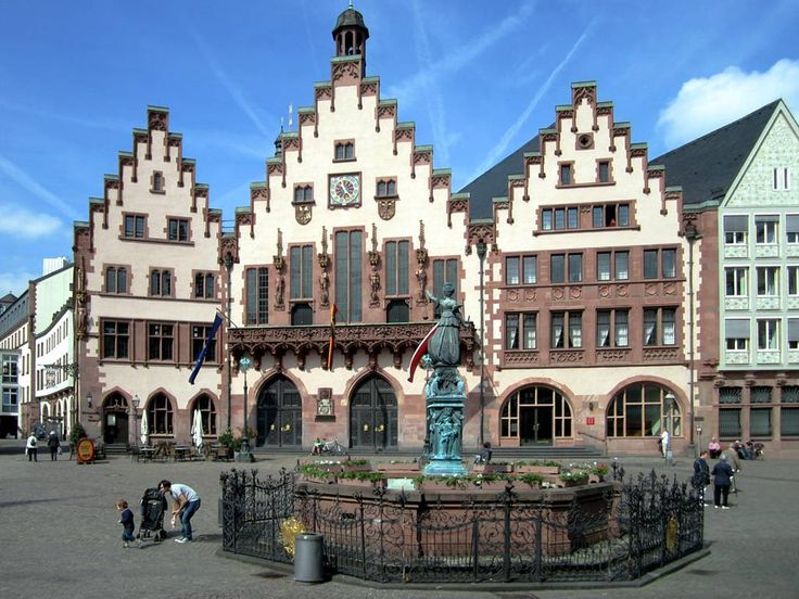 Römerberg is the heart of medieval Frankfurt, Germany. The building behind the fountain has served as Frankfurt's city hall for 600 years.