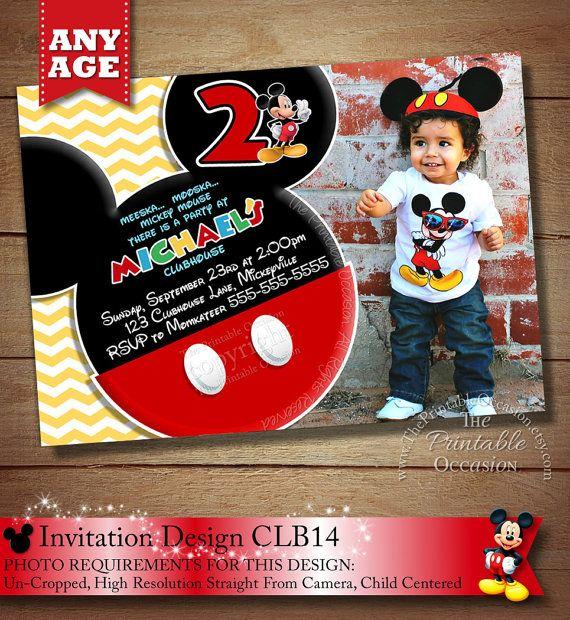HUGE SELECTION Chevron Mickey Mouse Invitation, Mickey Birthday Invitation, Mickey Mouse Clubhouse, Photo Invitations, Mickey Printables on Etsy, $20.00