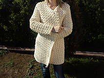 ručne háčkovaný dlhý kabát, zo 100% bavlnenej priadze