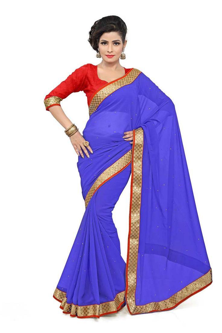 Blue Chiffon Casual Saree