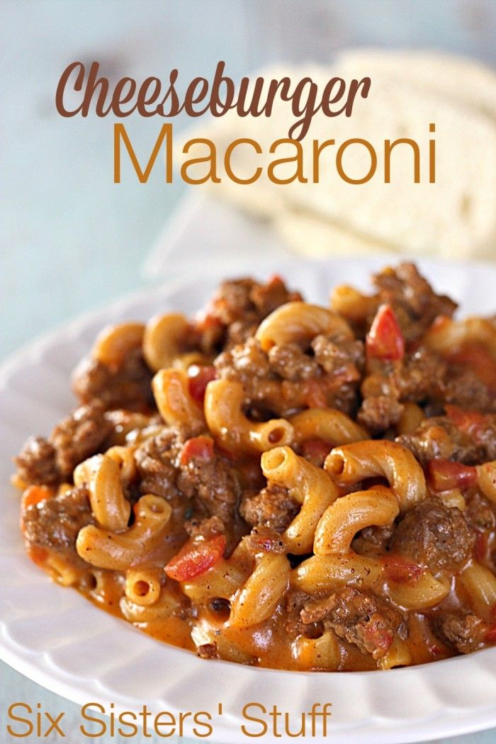 "Cheeseburger Macaroni recipe Six Sisters Stuff..""Make your own Cheeseburger Macaroni from scratch- your kids will love it! (And husbands!)"""