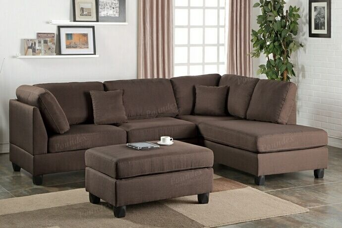 """3 pc Martinique collection chocolate polyfiber fabric upholstered sectional sofa with reversible chaise and ottoman. This set includes the 2 pc reversible chaise sectional sofa with throw pillows and ottoman. This sectional is upholstered in polyfiber faux linen material on the cushions and back. Sectional measures 105"""" across the back, Chaise comes out 76"""" and each piece is 35"""" Deep. Ottoman measures 35"""" x 23"""" x 19"""". This set is KD , Ready to assemble. Requires ..."""