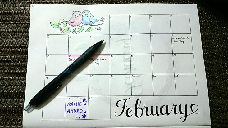 February calendar with pair of birds (from Google).