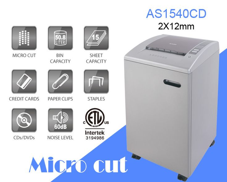 Aurora AS1540CD Plastic Paper Shredder, 15 sheet (A4) Micro cut 2x12mm,Heavy Duty Shredding machine for Office & SOHO