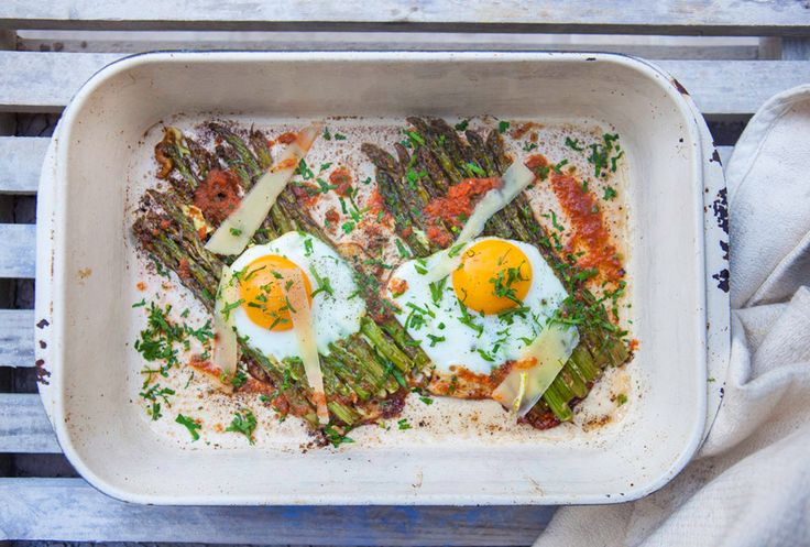 Oven-baked asparagus and eggs - Hemsley + Hemsley