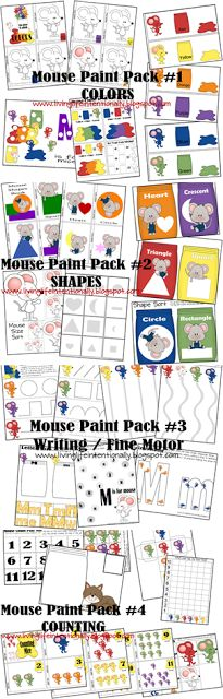FREE Mouse Paint worksheets for toddler, preschool, prek, kindergarten. These free printable worksheets for kids are great for learning about colors, shapes, letter m, counting, and more. (Five in a Row, favorite books)