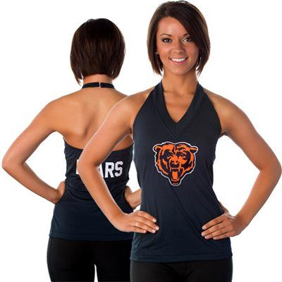 All Sport Couture Chicago Bears Women's Blown Cover Halter Top - Navy Blue