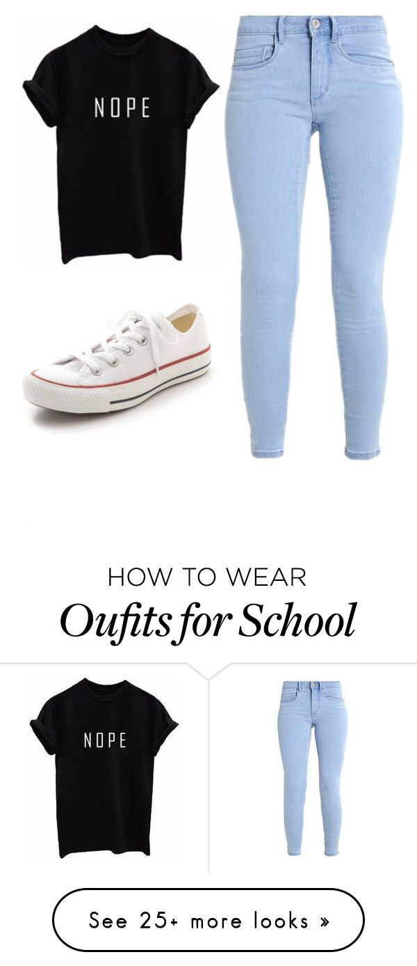 """school outfit"" by bryleeleaver on Polyvore featuring Converse"