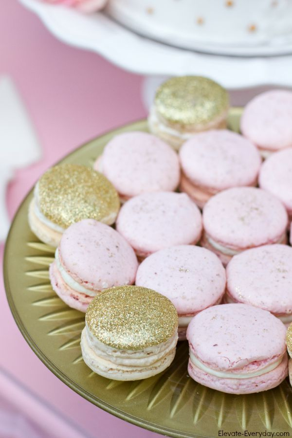 gold glitter and pink macarons (could make peanut butter crackers with pink almond bark)