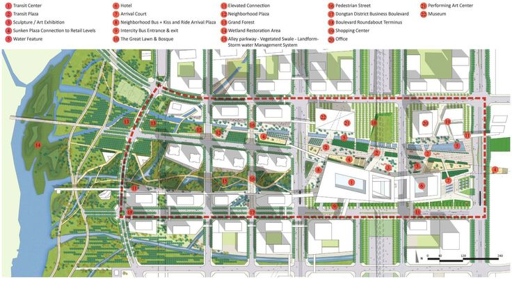 Transit Oriented City – Dongtan Central Business Master Plan | Ojanen Chiou Architects + SWA Group | redchalksketch