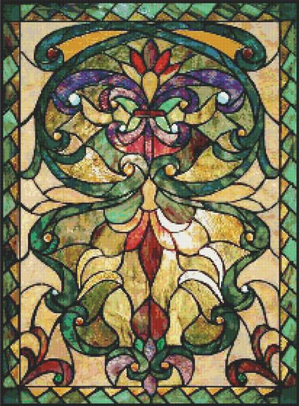 Cross Stitch Patterns - Stained Glass - CROSS STITCH PATTERN CHART - Victorian STAINED GLASS