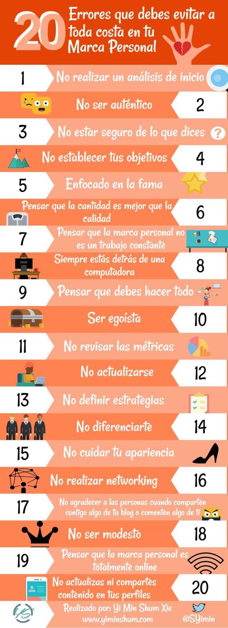 20 errores que debes evitar a toda costa en tu marca personal. Infografía en español. #CommunityManager