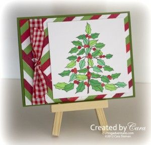 handmade Christmas card from OWH Stars and Stamps (Our OLD blog!) ... tgreen, red and white ... part of a tutorial on using scraps for backgrounds ... like the knotted ribbon element ...
