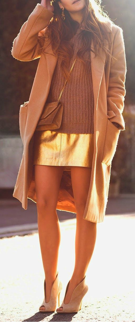 I'M GOLDEN - Golden Sequins Skirt with Camel Long Coat or Knit Sweater and Classic Ladies Shoes.