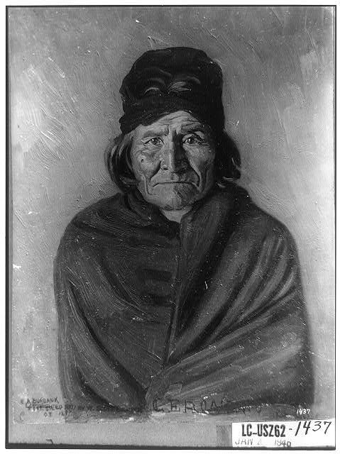 Geronimo. Reproduction of half-length portrait painting by E.A. Burbank. [1897]. Library of Congress Prints and Photographs Division.
