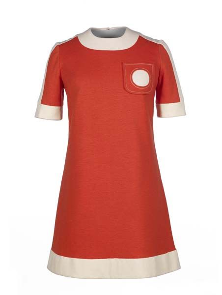 Dress by Mary Quant, 1966 from the Museum of London Had a dress very similar to this (no pocket, narrow white stripe down the sides of dress...LOVED it!)