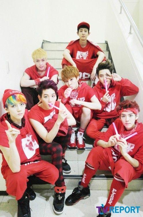 EXO (my favourite K-pop group)! Sehun, Baekhyun, Lay, Chanyeol, Xiumin, Kyungsoo and Luhan. 7/12 members!