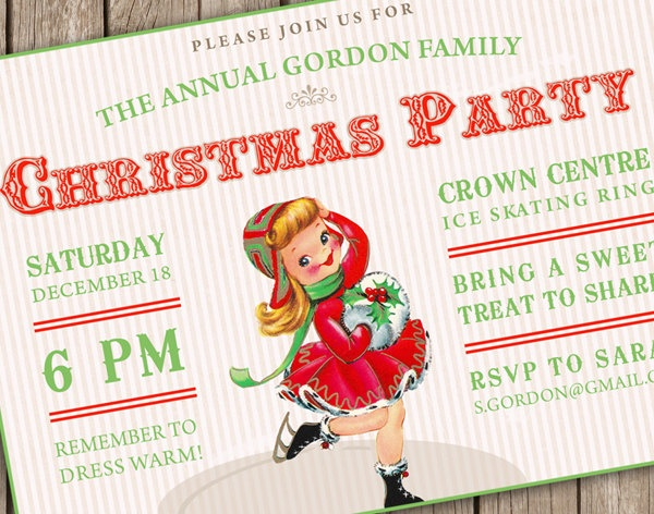 Vintage Christmas Party Skating Invitation - p.ink creative - christmas party or winter children's birthday party - (DEPOSIT).  via Etsy.