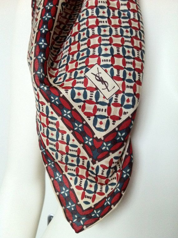 Vintage Rare YSL Silk Scarf by socallrare on Etsy, $71.19