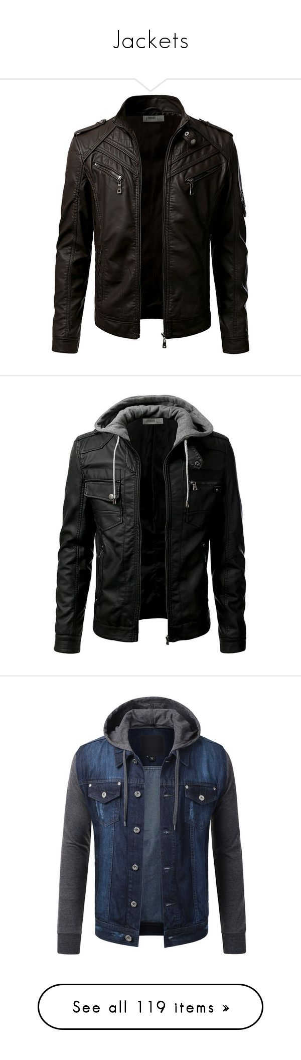 """""""Jackets"""" by curiousgamer ❤ liked on Polyvore featuring men's fashion, men's clothing, men's outerwear, men's jackets, mens blouson jacket, mens flight jacket, mens pleather jacket, mens bomber jacket, mens jackets and mens hooded denim jacket"""